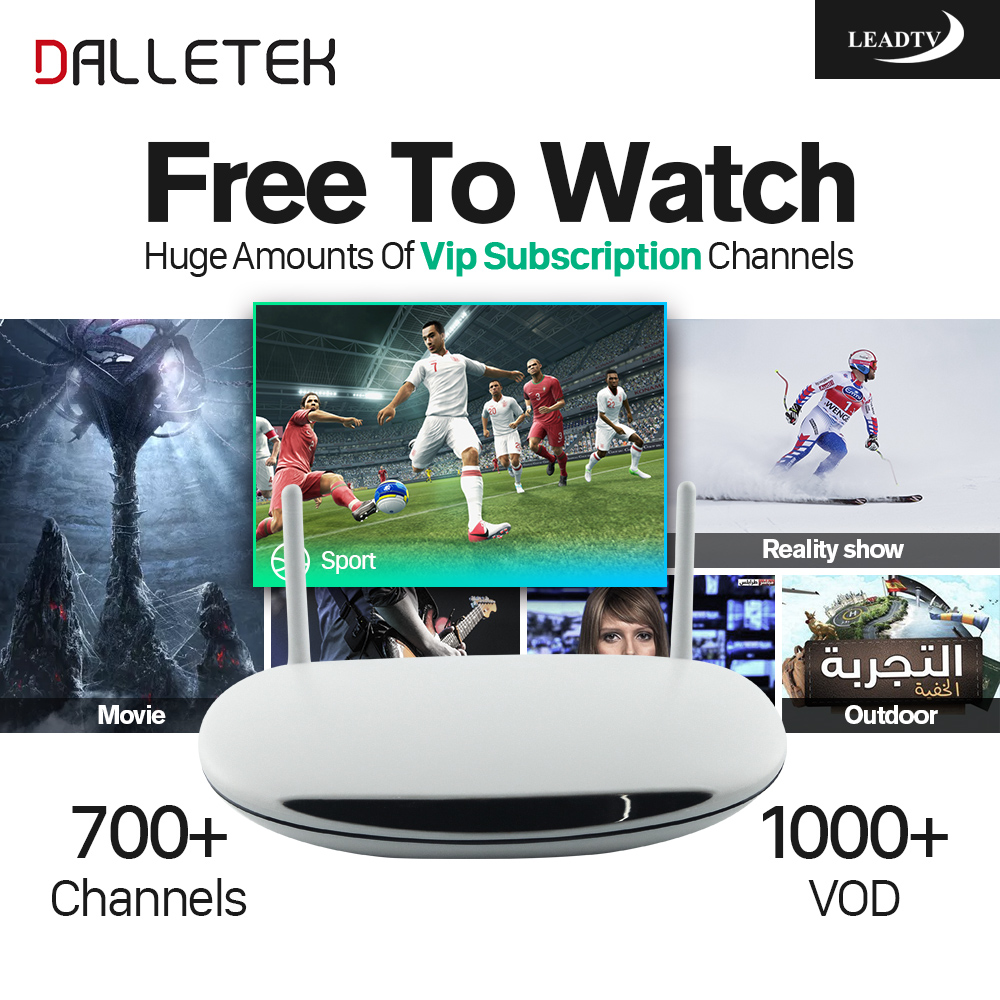 Dalletektv Quad Core Smart Android TV Box 1G/8G with 1Year Free 700 IPTV Channels Europe Arabic French Italy IPTV TV Box dalletektv leadcool android smart tv box cortex a7 quad core 1g 8g h 265 with iptv europe uk french italy channel subscription