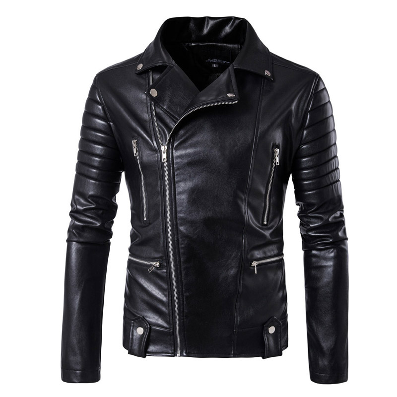 New Retro Vintage Motorcycle Jackets PU Leather Men Slash Zipper Moto Jackets Lapel Biker Faux Leather Riding Jacket Size M-5XL zipper fly chamois biker jacket