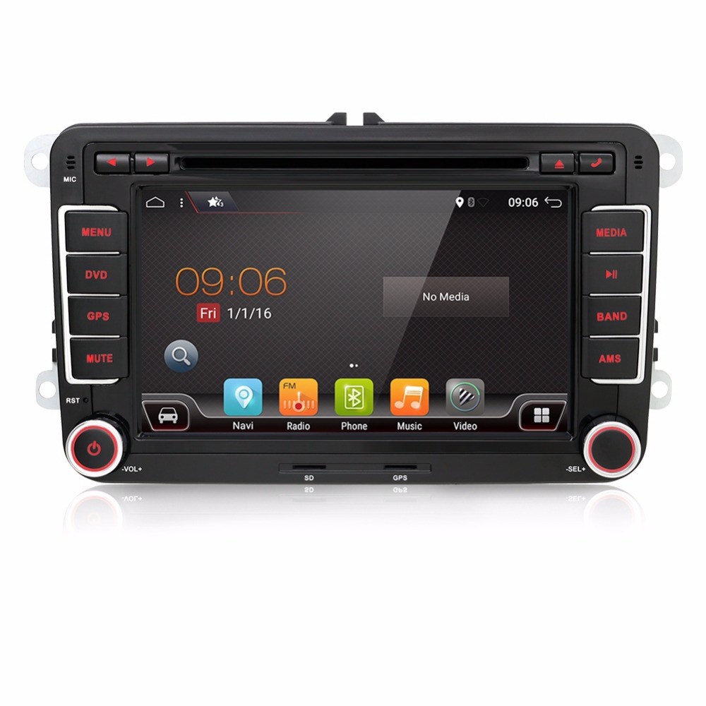 2 din Android 7.1 Car Radio DVD GPS Navigation For VW Caddy Golf Jetta Polo Sedan Touran Passat EOS 3G+DVD Automtivo yatour car bluetooth adapter kit for factory oem head unit radio for audi for skoda for vw golf eos jetta passat touareg touran