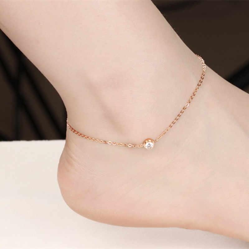 ファッション AAA + キュービックジルコニア女性カジュアル/スポーティローズゴールドカラーのステンレス鋼の女性の足首のブレスレットジュエリー