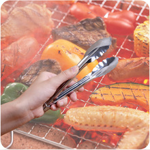 2017 Stainless steel Plastic Kitchen Tongs BBQ Clip Salad Bread Serving Tongs 2 Colors