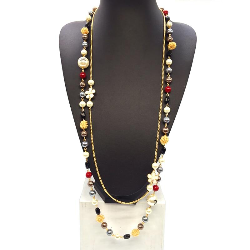 Акриловые жемчужные украшения длинные пряди ожерелья продаж корейской мода камелия с бантом письмо классический свитер цепи жемчужное оже...