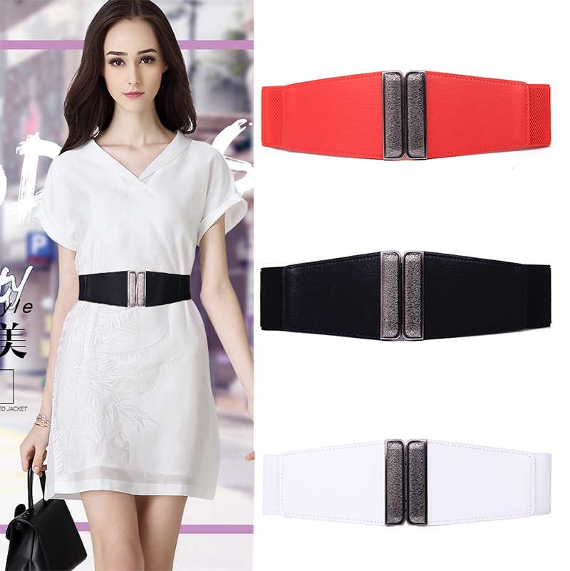 Free Shipping New Popular Dress Cummerbunds Trench Red Leather Wide Cummerbund Luxury Design HOT Elastic Waist Strap Belt Female