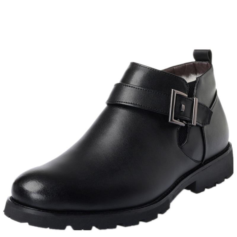 Lã Sapatos resistente Novo Homens Pelúcia Plush Plush brown Wool Genuíno slip brown Dentro E Inside Neve Ao Artificial Black Inverno black Não Couro Botas Desgaste Wool Mais De 2019 zc8q8C