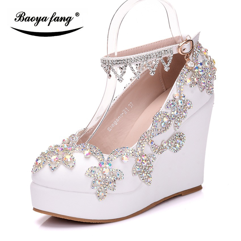 2018 New Bride Wedding shoes woman Bridal party shoes High Wedges heel Round Toe white crystal