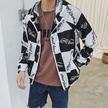 2019 New Summer printed letter jacket Men Fashion Outerwear Windbreaker S Thin Jackets Hooded Casual Sporting Coat Big Size