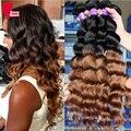 Ombre cabelo humano dois tons 1b/30 8 6amalaysian bundels cabelo solto ombre onda virgem tecer cabelo humano 3 pcs cabelo sunnyqueen produtos