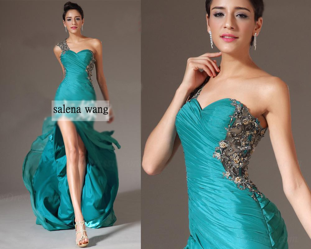 party prom gown lace appliques one shoulder vestido de renda 2014 new fashion sexy women   dress   long   evening     dress   free shipping