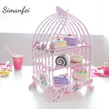 Simanfei Disposable Tableware 2018 Cartoon Children Birthday Cake Multilayer cake rack Party Wedding Carnival Tableware Supplies