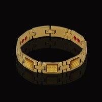 Punk Health Magnetic Energy Bracelet For Women Men Gold Color Healing Cool Hand Chain Bracelets Bangles
