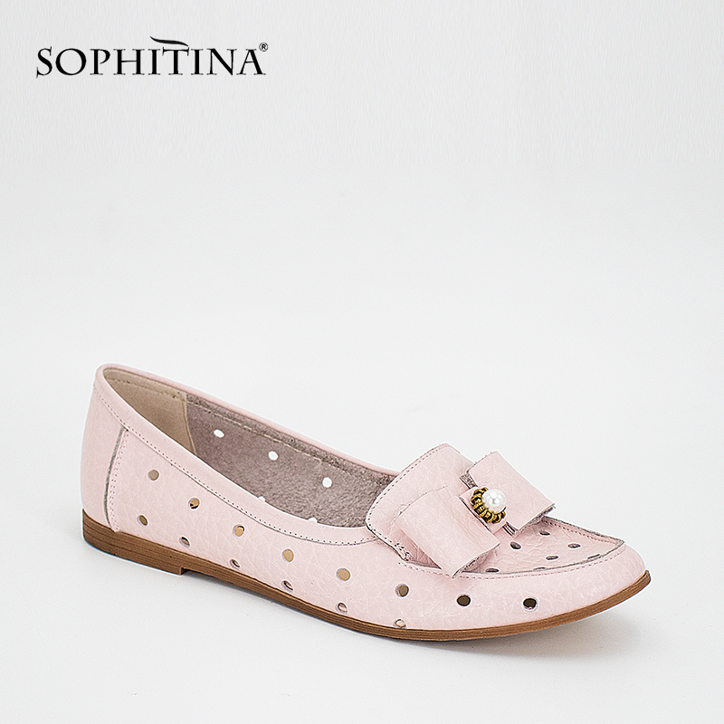 SOPHITINA Comfortable Woman Flats Light Green Pink Punching Genuine Leather Casual Shoes Round Toe Slip-on Breathable Flats P32