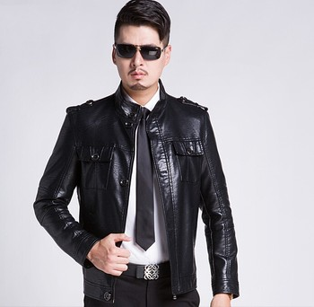 Hot New Men's Autumn Winter Casual Stand Collar Coats Men Motorcycle Jacket Mens Fashion Sheep Skin Leather Jackets Large Size