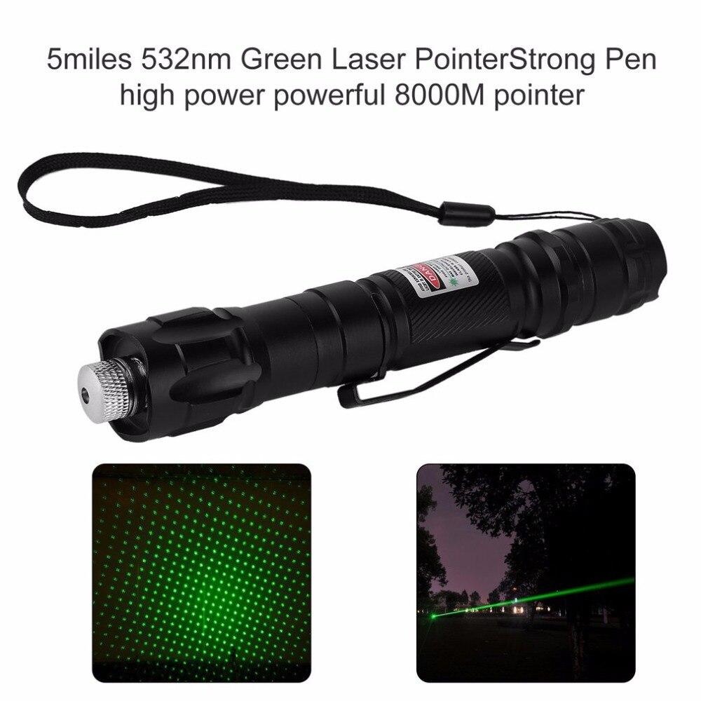 Chaud dans le monde entier 8000 M pointeur 5 miles 532nm vert Laser pointeur fort stylo haute puissance léger faible consommation
