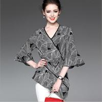 Spring Autumn Women Clothing Plus Size Shirt Blouse Femme Fashion Flare Sleeve Wild Irregular Chiffon Tops