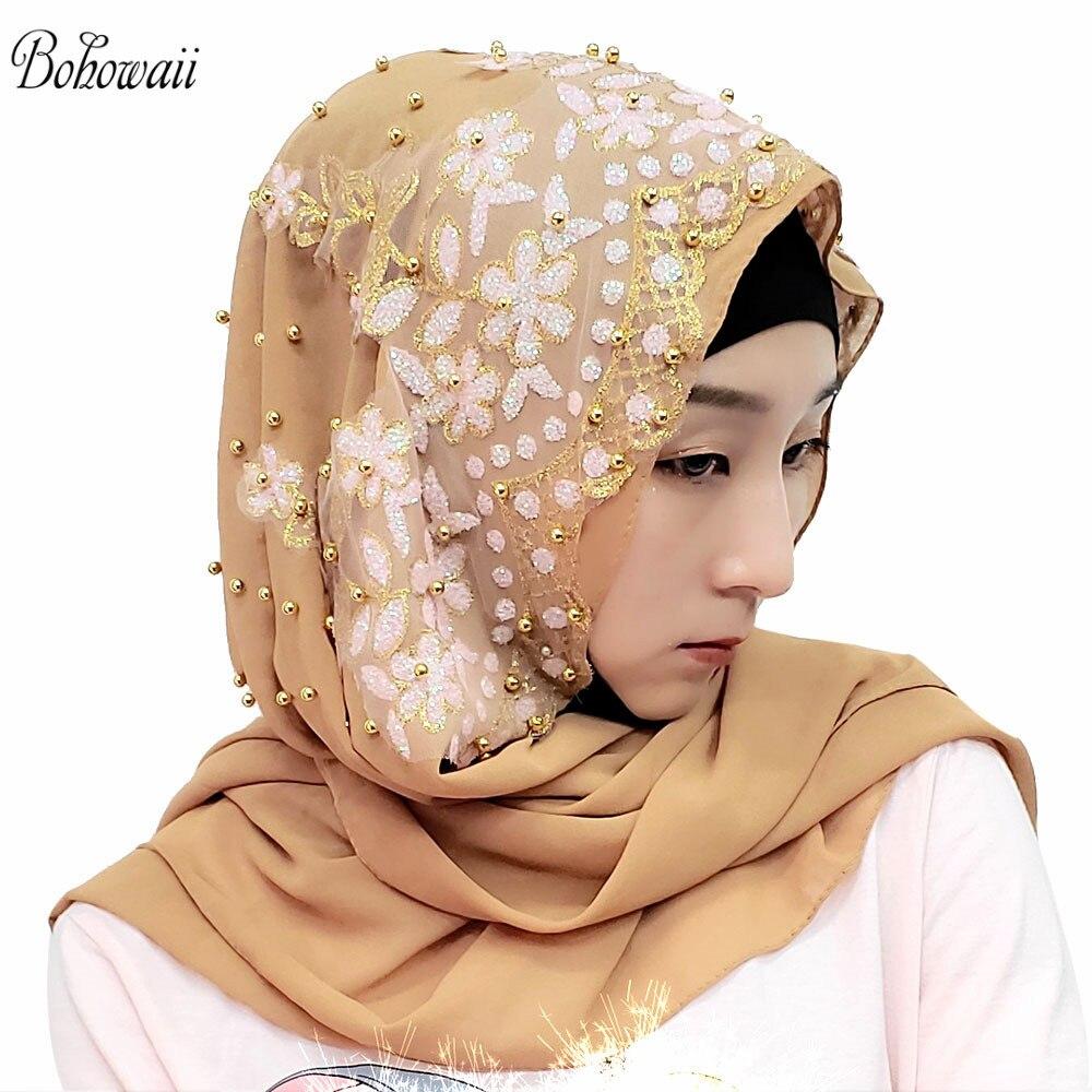 BOHOWAII Islam India Muslim Hijab Scarf 14 Colors Women Underscarf Hoofddoek New Design Kopftuch Headscarf Hijab Femme Musulman