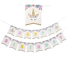 Unicorn Banner Garlands Supplies Babyshower Wreath Candy Bar Bunting Party Decor Slingers Wedding Happy Birthday Decoration футболка print bar unicorn