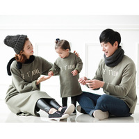 Mom and Son Matching Clothes Autumn Family Shirts Sweater Army Green Letter Long sleeved Plus Velvet Thick Long Tshirts QZ072