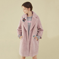 Korean Style Mid long Section Winter Faux Fur Coat Women Fluff Jacket 2019 New Fashion Patch Embroidery Shaggy Cardigan Coats