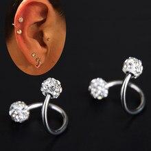 Brinco de cristal com esferas duplas 1 peça, torcida, hélixe, piercing de cartilagem, joia do corpo, medidor de jóias 18g, ear, anel cirúrgico aço de aço