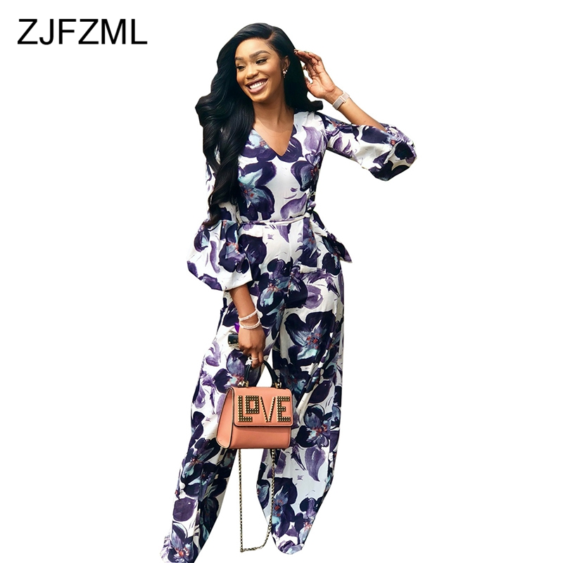 270c2476b9791 Detail Feedback Questions about ZJFZML Long Sleeve V Neck Rompers Women  Jumpsuit Vintage Flower Print Wide Leg Bodysuit Streetwear Full Length  Overall For ...