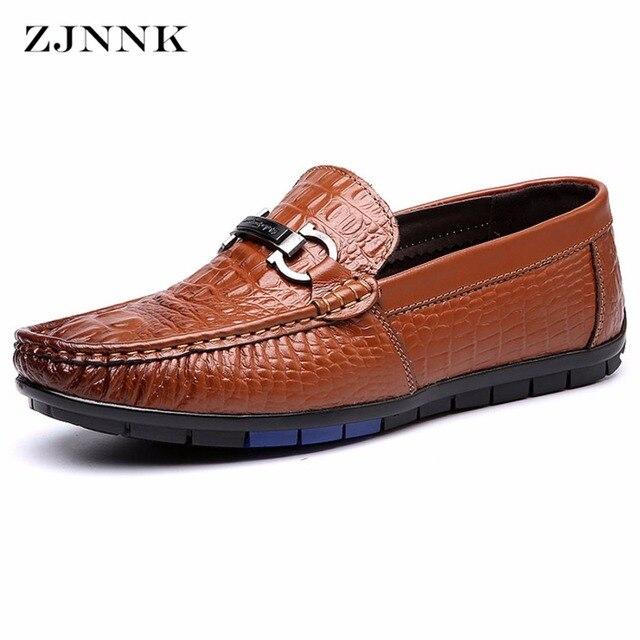 Mode Luxe Hommes Chaussures en cuir véritable homme Flats, cuir crocodile hommes Mocassins, Marque de conduite Hommes