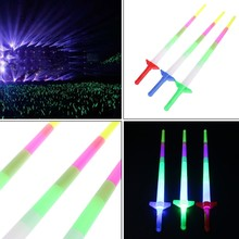 1 Pc Rainbow Laser Sword Extendable Light Up Toys Flashing Wands Led Sticks Party for Baby Kids Girls Boys #BC15#(China)