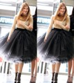 2016 New Fashion Latest Designs Woman 5 Layers Tulle Satin Skirt Knee Length Solid Natural Color Ball Gown Tutu Skirt Women