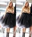 2016 Nova Moda Mais Recentes Modelos Mulher 5 Camadas de Tule Cetim saia Na Altura Do Joelho Cor Sólida Natural vestido de Baile Tutu Skirt mulheres