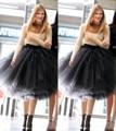 2016 Nueva Moda Últimos Diseños de la Mujer 5 Capas de Tul Satinado falda Hasta la Rodilla de Color Sólido Natural vestido de Bola Del Tutú de La Falda mujeres