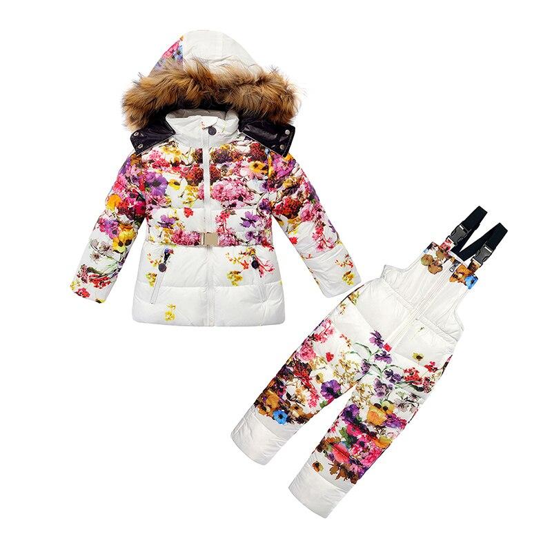 Фотография Winter Clothing Set for Girls Flowers Down Coat Overalls Set Warm Windproof Snowsuit Fur Toddler Children Ski Suit Sintepon