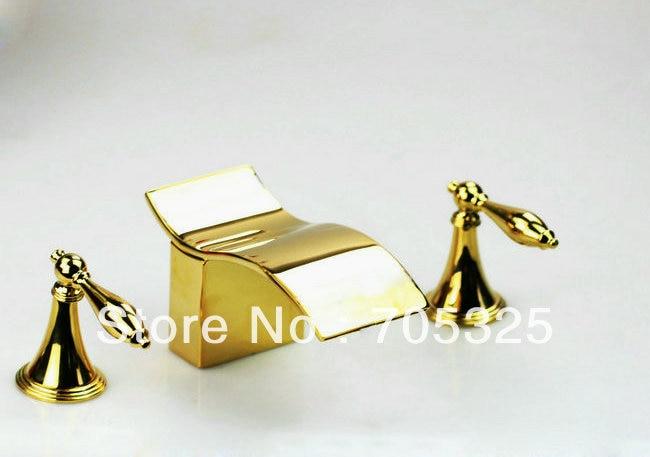 Bed Gold Shavings Sale Dual Handle Brass Chrome Basin Tap Mixer Deck  Bathroom Bathtub Faucet  Set  AD-1134