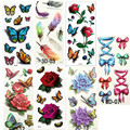 7PCS Beautiful Water Transfer Stickers Flash Tattoos for Body Art Makeup Cool 3D Waterproof Temporary Tattoo for Girls Tatouage