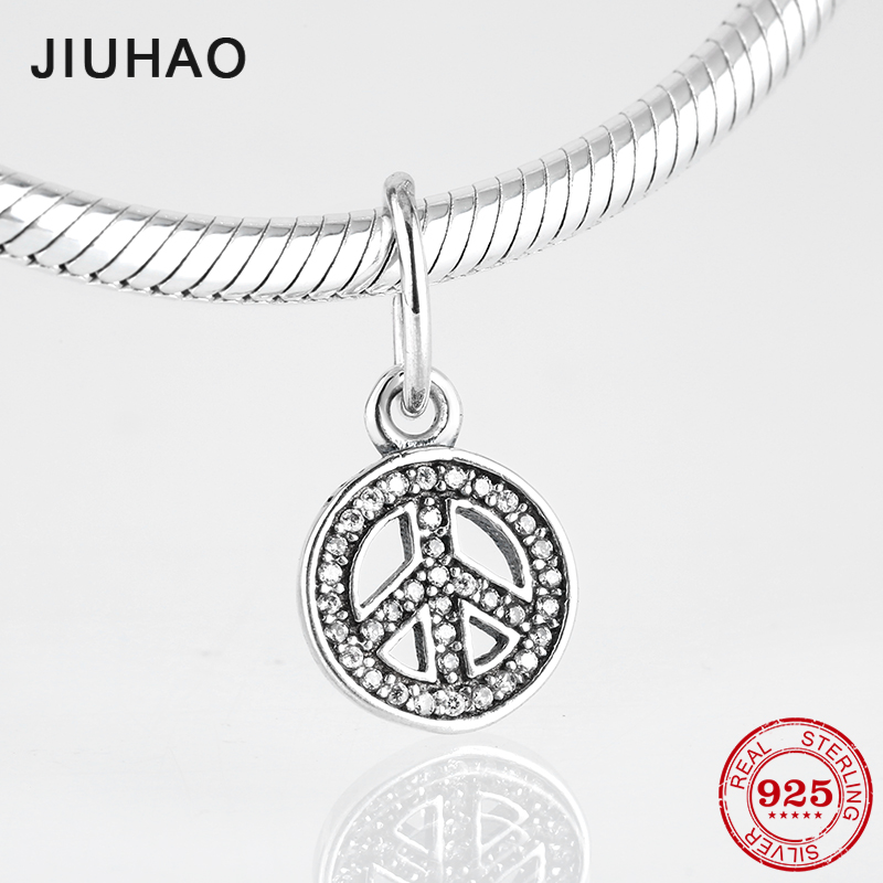 Love peace 925 Sterling Silver Anti-war sign CZ Fine Pendants Fit Original Pandora Charm Bracelet Jewelry makingLove peace 925 Sterling Silver Anti-war sign CZ Fine Pendants Fit Original Pandora Charm Bracelet Jewelry making