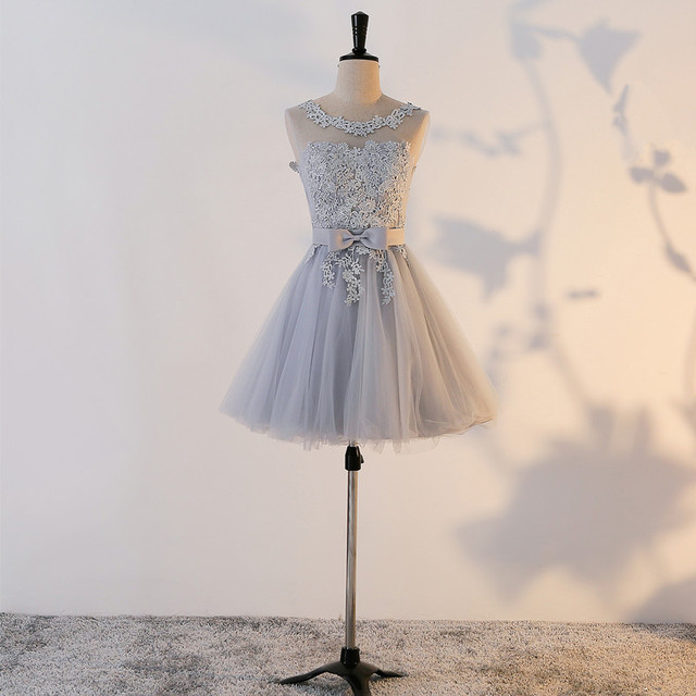 Gray Tulle Lace Short Sleeveless Bridemade Dress Above Knee A-Line Formal Wedding Party Dresses homecoming Gowns