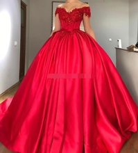 2019 vestidos Off the Shoulder Red Ball Gown Quinceanera Dresses Appliques Beaded Satin Corset Lace Up Prom Sweet 16