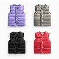 2016 outono Primavera casacos das crianças doce cor para baixo algodão quente meninas vest crianças colete bebê de alta qualidade menina clothes2-8