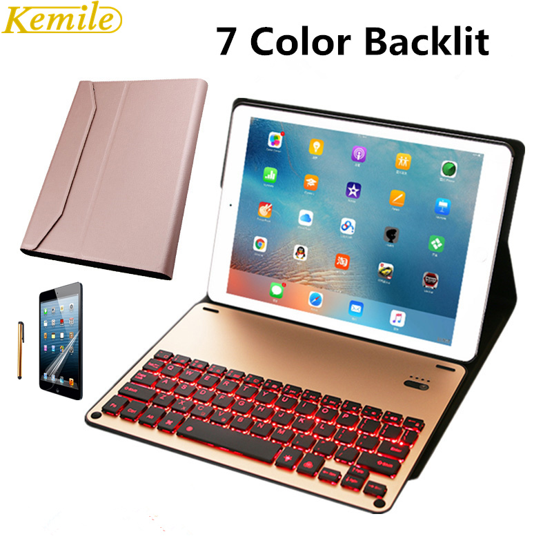 Kemile Removable 7 Color Backlit Wireless Bluetooth Luxury Aluminum Alloy Keyboard For IPad Pro