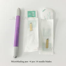 1pc Eyebrow Microblading Manual Pen Permanent Makeup Machine Tattoo with 4 PCD Needle blades Both Head Can Be Used