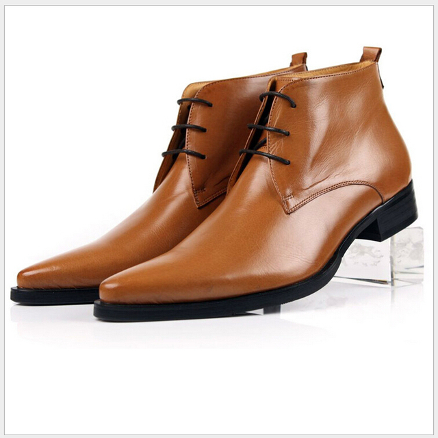 3b7d0a9e7a Brand Men Dress Shoes High Quality Full Grain Leather Shoes Mens Fashion  Point Toe Ankle Boots Work Boots Shoes Zapatos Mujer