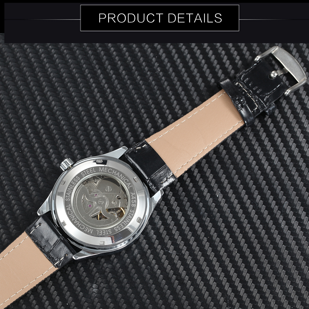 Image 4 - WINNER Official Casual Mens Watches Top Brand Luxury Automatic Mechanical Watch Men Leather Band Calendar Fashion Wristwatchtriangle blacktriangle ttriangle watches men -