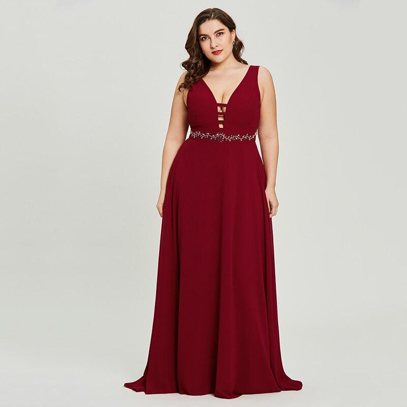 SPECIAL PRICE) Dressv Burgundy Plus Size Long Evening Dress ...