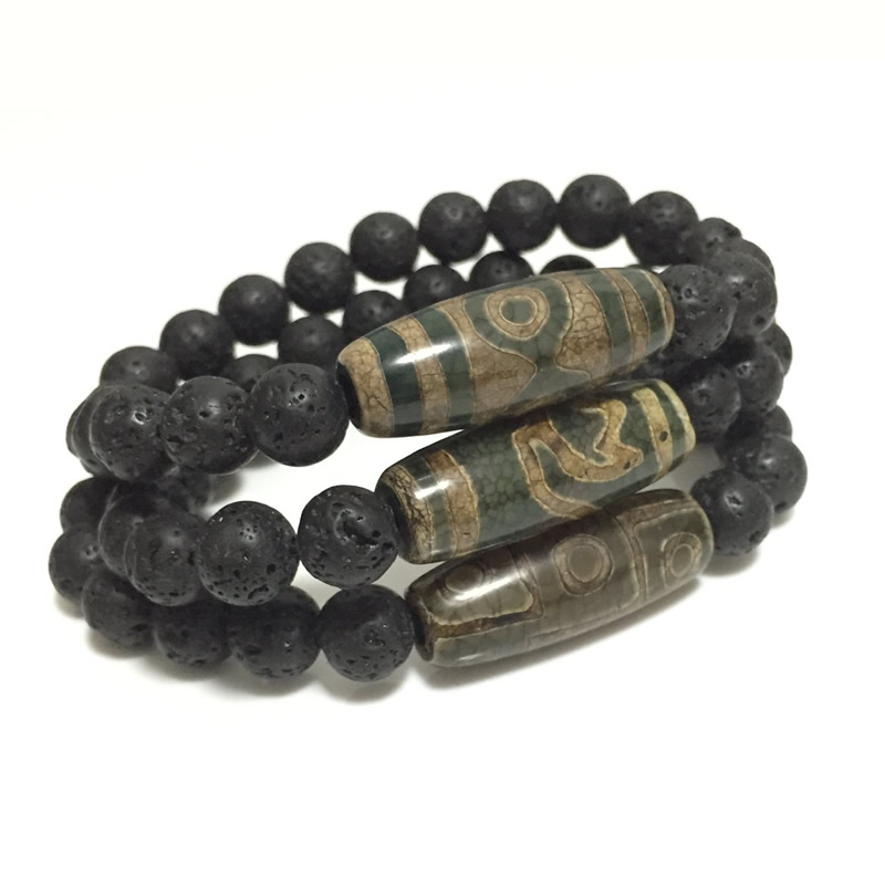 Retro Natural Tibetan Dzi Agates Bracelets Vintage Jewelry Buddha Prayer Nine-eyed Agates Charm Black Lava Bracelets For Male