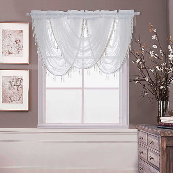 Lujo blanco diamante transparente bordado cascada ventana cenefa borla ajuste cortina para sala de estar ventana tratamientos decoración del hogar