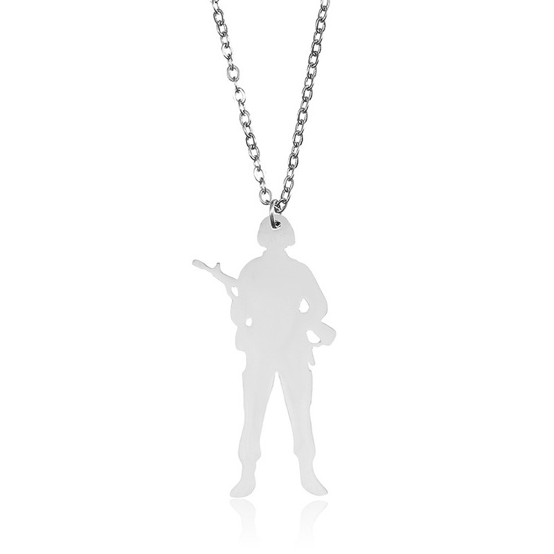 2018 Hip-hop 304 Stainless Steel Soldier Necklace Silver Plated Warrior Gun Pendant Necklace Soldier Memorial Jewellery