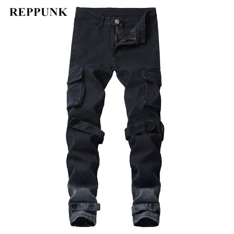 REPPUNK 2019 новые зауженные рваные джинсы для мужчин, черные мужские потертые джинсовые штаны с дырками на коленях