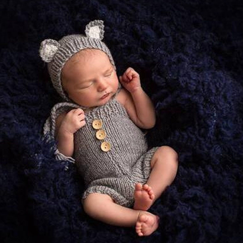 Gray /& Cream Overalls,Long Tail Hats Pants,Newborn Props by Zoraya Baby Props Newborn Photography Baby Boy Props Gray Pants Sleepy Hat