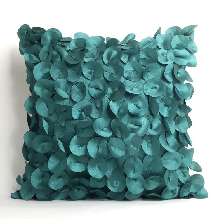 Fashion Handmade Decorative Seashell Geometry Circle Bamboo Faux Silk Square Sofa 3D Cushion Cover Throw Pillow Cover Case