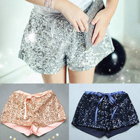 Hot Sell Gold Sequin Shorts For Girls Baby Summer Shorts Mid Bow Tie Shorts Girls Loose