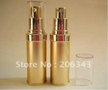 20ML gold airless lotion plastic bottle with airless pump can used for Cosmetic Packaging