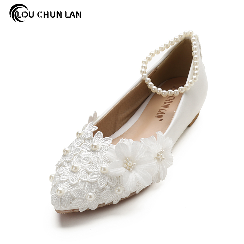 White Lace Pearl Flat Flower Bride and Bridesmaids Wedding Shoes Women's Shoes female Shoes appliques Shoes Large Size 41 45